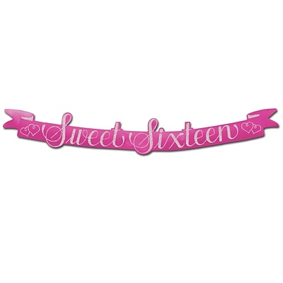 Beistle Glittered Sweet Sixteen Streamer; 5 1/2 x 3 6