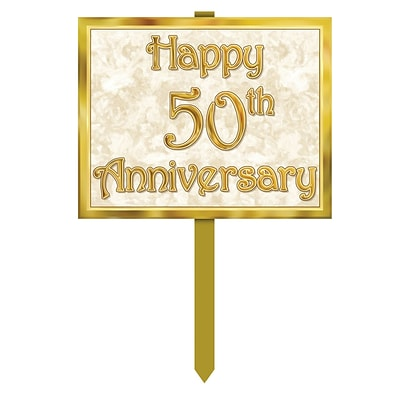 Beistle 12 x 15 50th Anniversary Yard Sign; Gold, 3/Pack