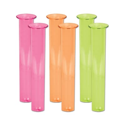 Beistle 6 3/4 2 oz. Neon Test Tube Shot Glass; Assorted, 12/Pack