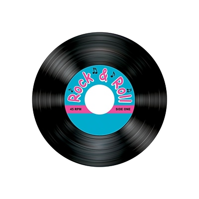 Beistle Rock & Roll Record Coaster; 3 1/2, 32/Pack
