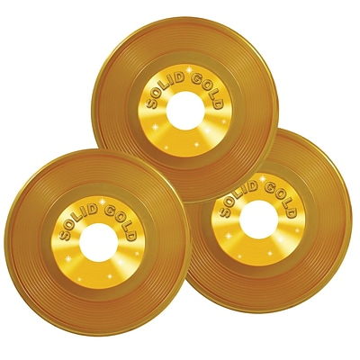 Beistle 9 Plastic Records; Gold, 6/Pack