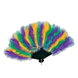 Golden Yellow/GN/PE Mardi Gras Feather Fan