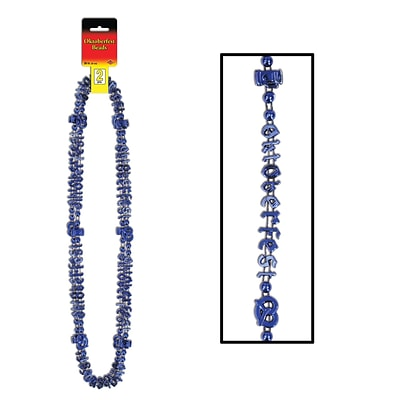 Beistle Oktoberfest Beads Of Expression Necklace; 38, Metallic Blue