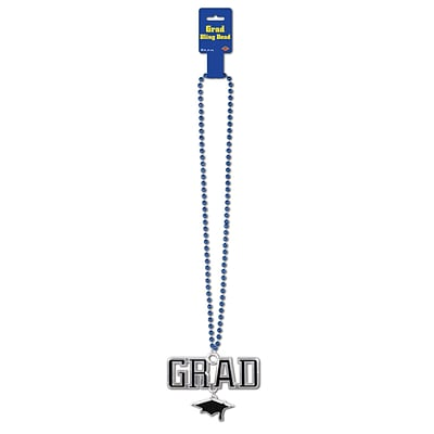 Beistle Beads Necklace With Grad Medallion; 36, Blue
