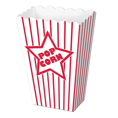 Beistle Paper Popcorn Box, Red/White, 40/Pack (57450)