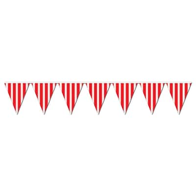 Beistle 10 x 12 Striped Pennant Banner; Red/White, 4/Pack