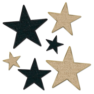 Beistle Assorted Glittered Star Cutouts; Black/Gold, 12/Pack