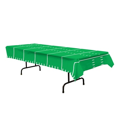 Beistle 54 x 108 Game Day Football Tablecover; Green, 3/Pack