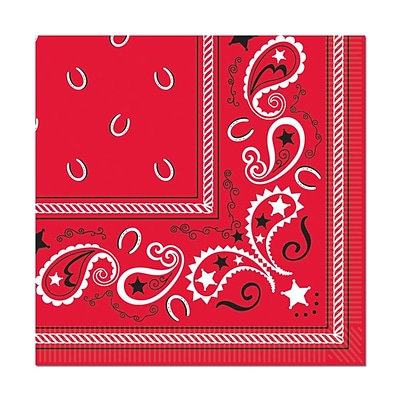 Beistle 6 1/2 x 6 1/2 Bandana Luncheon Napkins, Red, 48/Pack