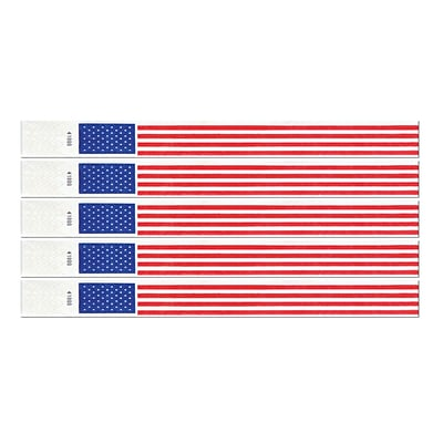 Beistle 3/4 x 10 Patriotic Tyvek Wristband; Red/Blue/White, 100/Pack