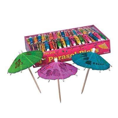 Beistle Boxed Party Parasol Picks; 4, Assorted