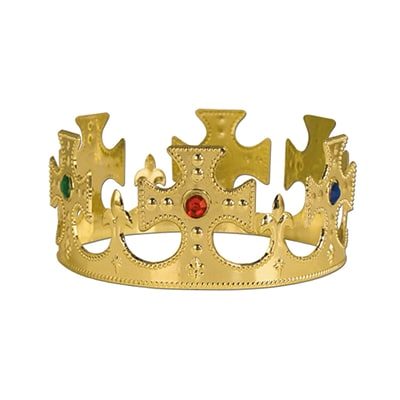 Beistle Jeweled Kings Crown, Gold