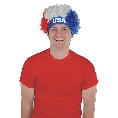 Beistle Adjustable USA Wig; Red/White/Blue