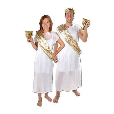 Beistle Toga Set; White/Gold