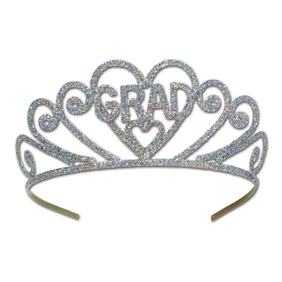 Beistle Glittered Graduation Tiara; Silver