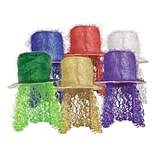 Beistle Tinsel Top Hat With Curly Wig, One Size, Assorted
