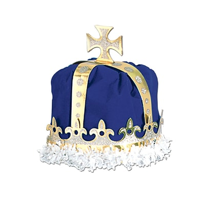 Beistle Royal Kings Crown Hat, One Size, Blue