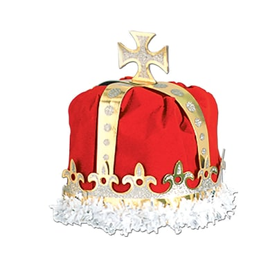 Beistle Royal Kings Crown Hat, One Size, Red