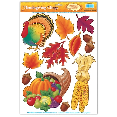 Beistle 12 x 17 Thanksgiving Clings; 77/Pack