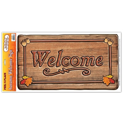 Beistle 12 x 24 Autumn Welcome Sign Peel N Place Sticker; 3/Pack