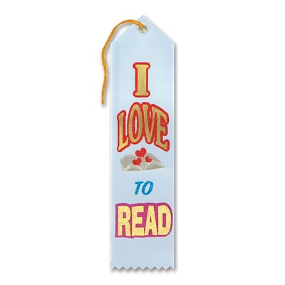 Beistle 2 x 8 I Love To Read Award Ribbon; Light Blue, 9/Pack