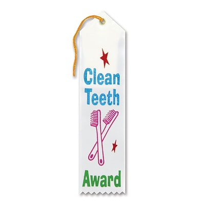 Beistle 2 x 8 Clean Teeth Award Ribbon; White, 9/Pack
