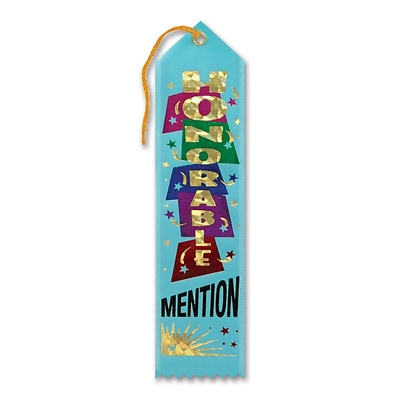 Beistle 2 x 8 Honorable Mention Award Ribbon; Turquoise, 9/Pack