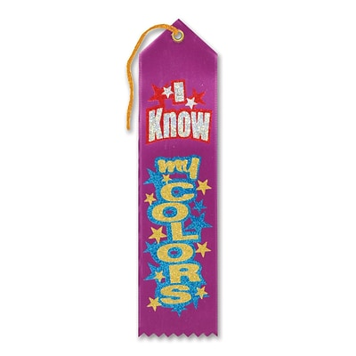 Beistle 2 x 8 I Know My Colors Award Ribbon; Purple, 9/Pack