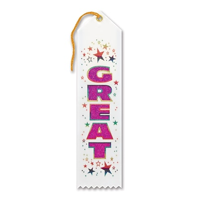 Beistle 2 x 8 Great Award Ribbon; White, 9/Pack