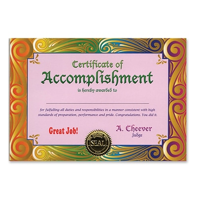 Beistle Certificate Of Accomplishment; 5 x 7