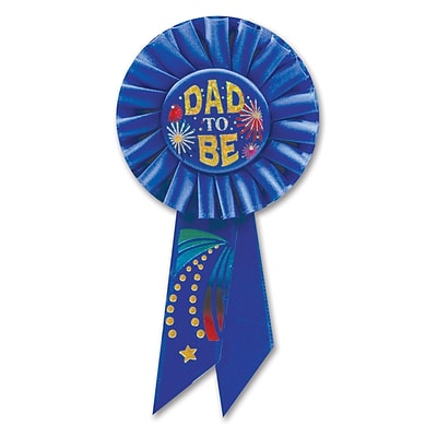 Beistle 3 1/4 x 6 1/2 Dad To Be Rosette Ribbon; 6/Pack