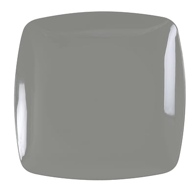 Renaissance Plastic Rounded Square China Like Plate (Silver) 7.5