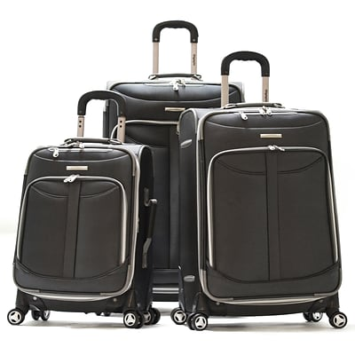 Olympia Polyester Tuscany 3-Piece Luggage Set, Black
