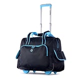 Olympia Polyester Deluxe Fashion Rolling Overnighter One Size, Black/Blue