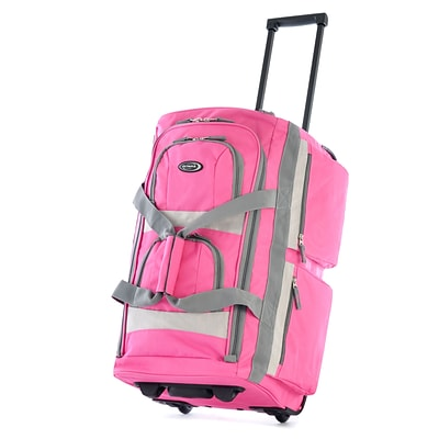 Olympia 8 pocket Carry On Rolling Upright Duffel Bag, 22, Hot Pink