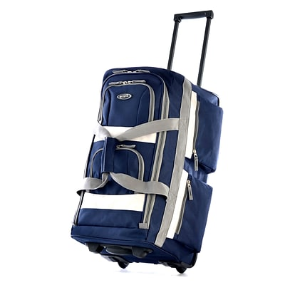Olympia 8 pocket Carry On Rolling Upright Duffel Bag, 22, Navy