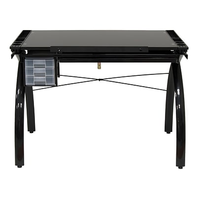 Studio Designs 45 x 43 Steel Futura Drafting Table with Glass Top Black/Black Glass