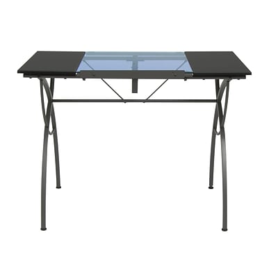 Studio Designs 40 x 23.75 Metal & Plastic Catalina Craft Table in Pewter with Blue Glass