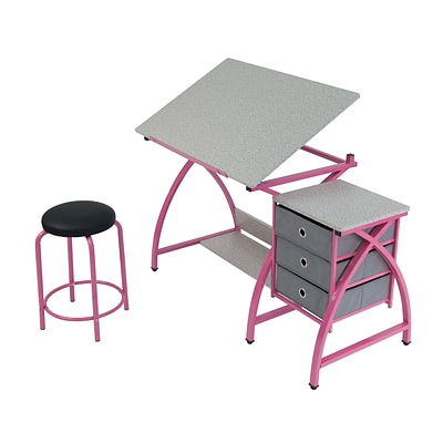 Studio Designs 24 metal Comet Table with Stool Pink