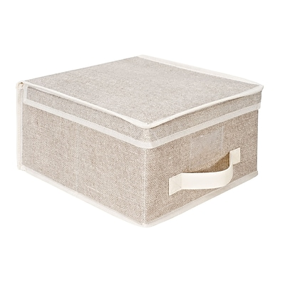 Simplify Medium Non Woven Storage Box, Off-White