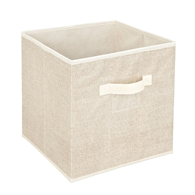 Simplify Faux Jute Polypropylene/Cardboard Box Cube, Off-White