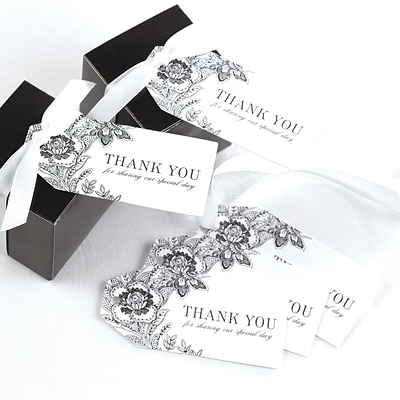 HBH™ Vintage Floral Favor Cards, White/Black