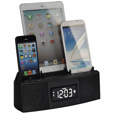 DOK™ 3 Port Smart Phone Charger With Speaker Phone (Bluetooth)/Alarm/Clock/FM Radio