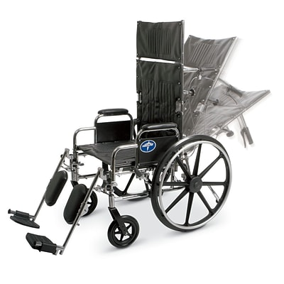 Medline Excel Reclining Wheelchairs; Seat, Desk Length Arm, Swing Away Elevating Legrests