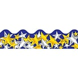 Gold and Silver Stars Scalloped Border