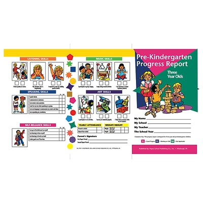 Hayes School Publishing® Pre-Kindergarten Progress Report 3 Year Olds