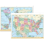 Universal Map® Us & World Notebook Map, 8-1/2 X 11