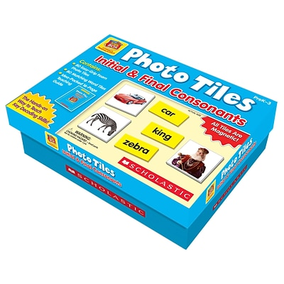 Scholastic Little Red Toolbox Literacy Manipulatives, Photo Tiles, Initial & Final Consonants