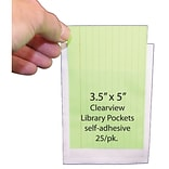 Ashley 3 1/2 x 5 Clear View Self Adhesive Library Pocket