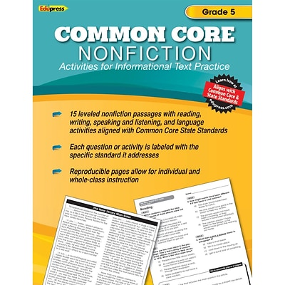 Edupress® Common Core Nonfiction Activity Book, Grade 5th